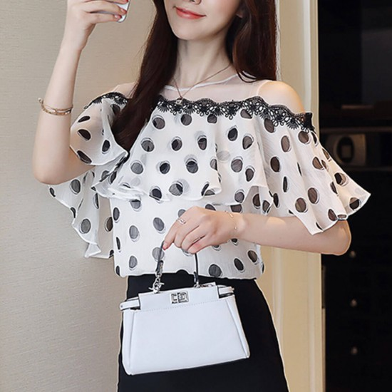 Sweet Lace Polka Dot Print Net Shoulder Casual Blouse - Black image