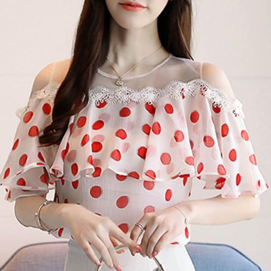 Sweet Lace Polka Dot Print Net Shoulder Casual Blouse - Pink image