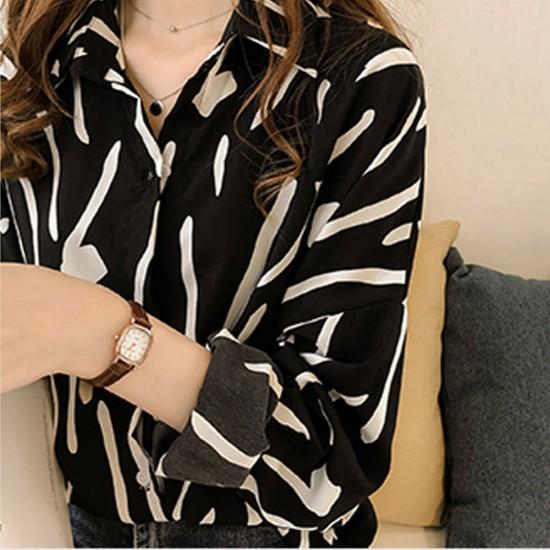 Hand-Painted Femme Full Sleeve Loose Shirt - Black image