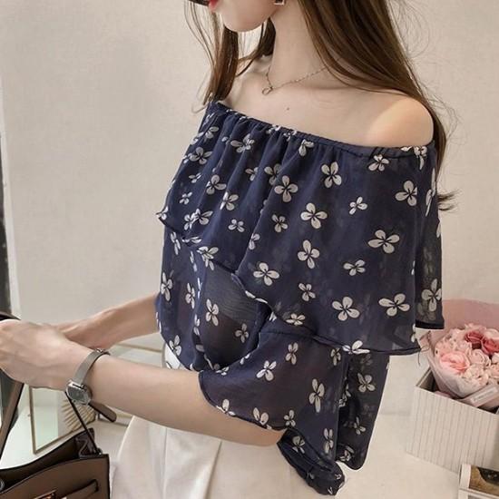 Delicate Off Shoulder floral chiffon blouse - Black image