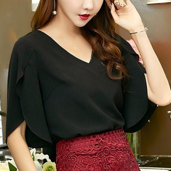 Sexy Loose Butterfly Sleeves V-neck Casual Shirt - Black image