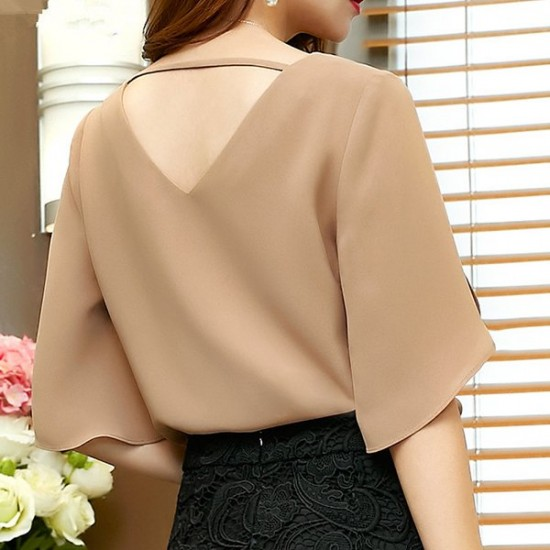 Sexy Loose Butterfly Sleeves V-neck Casual Shirt - Brown image