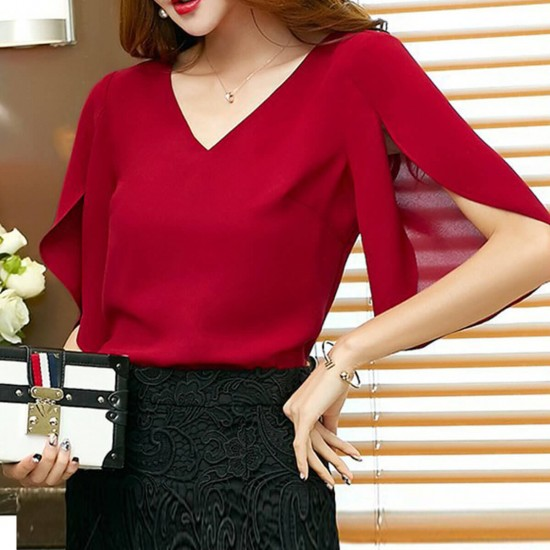 Sexy Loose Butterfly Sleeves V-neck Casual Shirt - Red image