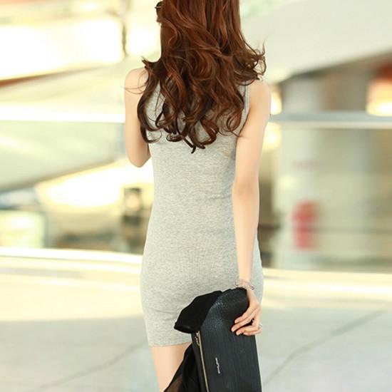 Sleeveless Plain Cotton Mini Body-con Dress - Grey image
