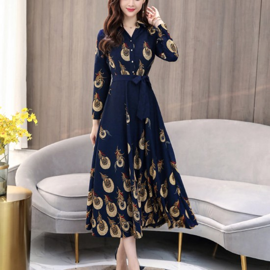 Peacock Feathers Prints Elegant Style Maxi Dress - Blue image