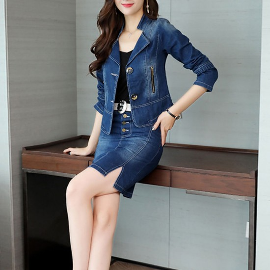 Denim Jacket with Skirt Two Piece Suit - Blue image