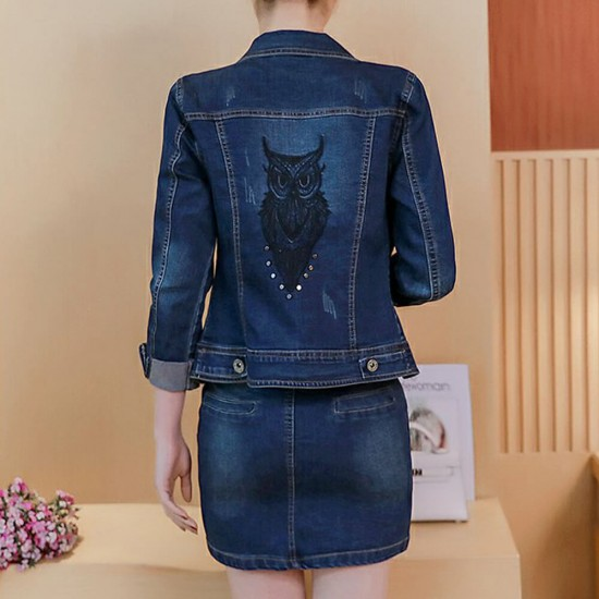 Ladies Denim Jacket And Skirt Two-Piece Package - Blue image