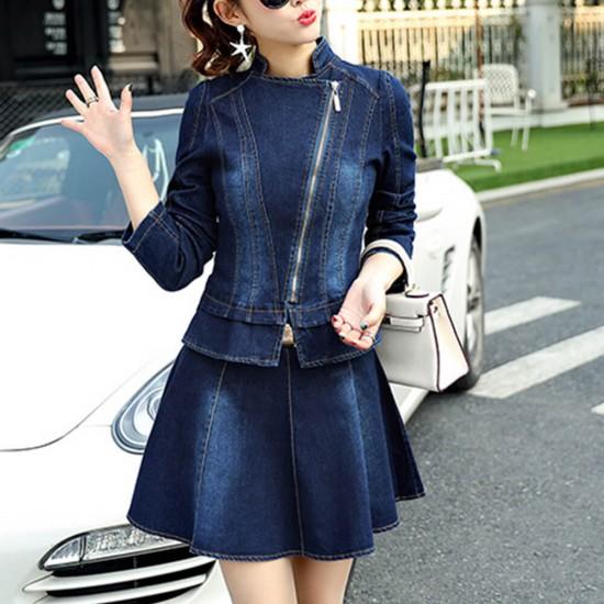 Female Blue Denim Zipper Jacket With Skirt - Blue image