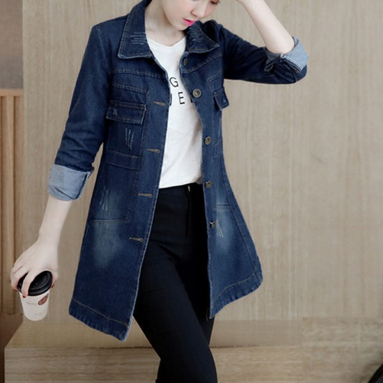 Mid Length Jeans Casual Button Denim Jacket Top -Dark Blue image
