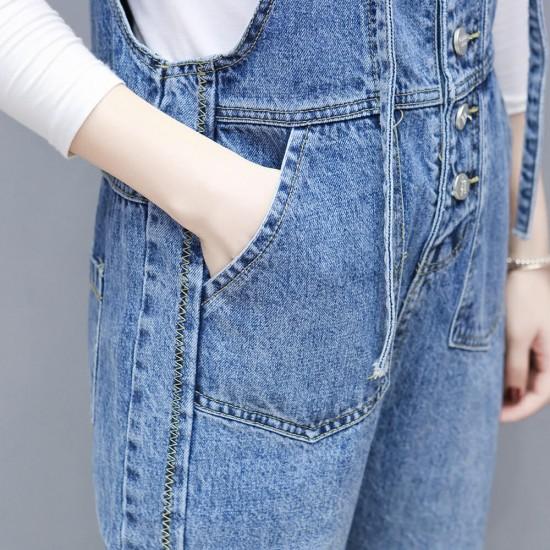 High Waist Blue Patchwork Jeans Long Jumpsuit - Blue image