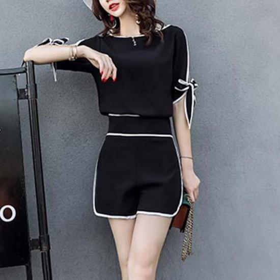 High Quality Elegant Chiffon Two Piece Dress- Black image