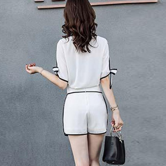 High Quality Elegant Chiffon Two Piece Dress- White image