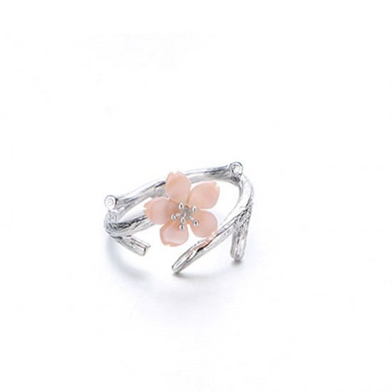 Wind Cherry with White Petals Open Hands Ring For Women-Pink image
