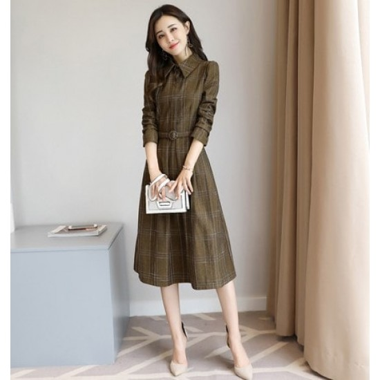 Collar Acetate Long Sleeve A-line Midi Dress - Brown image
