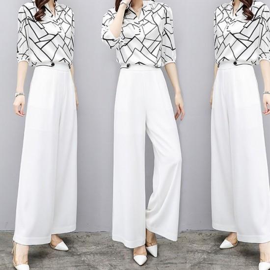 Geometric Motifs Chiffon blouse trousers – White image