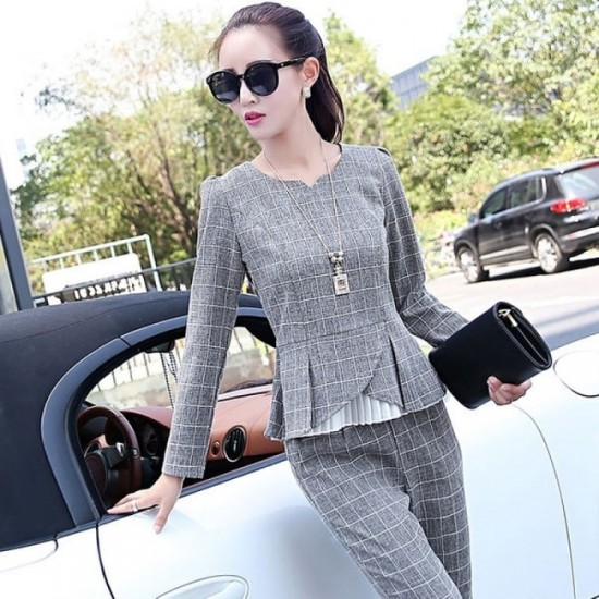 Plaid Casual Cotton and Linen Two piece Suit - Grey image