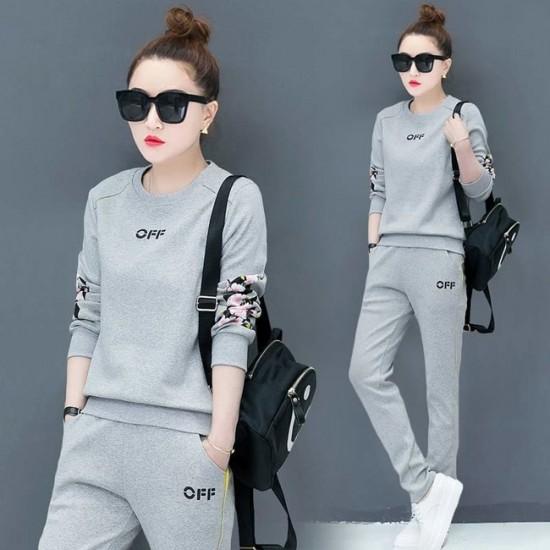 Floral Sleeve Hoodie Jogging Track Suit - Grey image