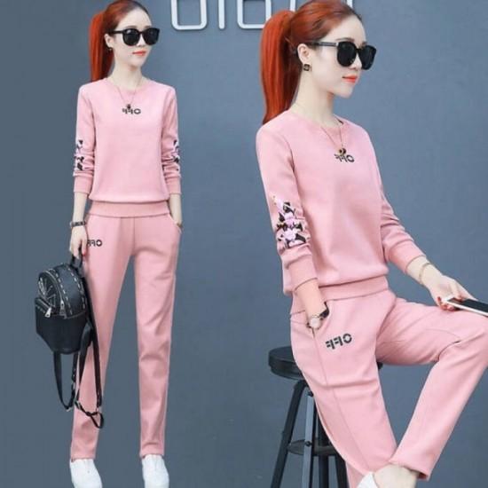 Floral Sleeve Hoodie Jogging Track Suit - Pink image
