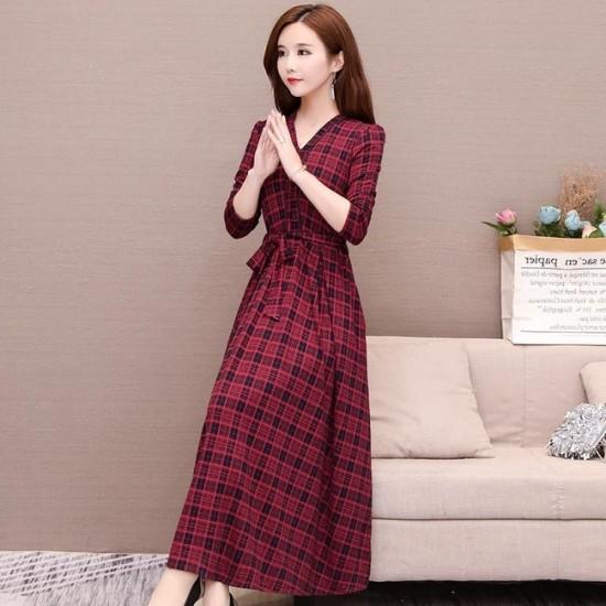V-neck Thin Waist Retro Knee Length Plaid Dress - Red image