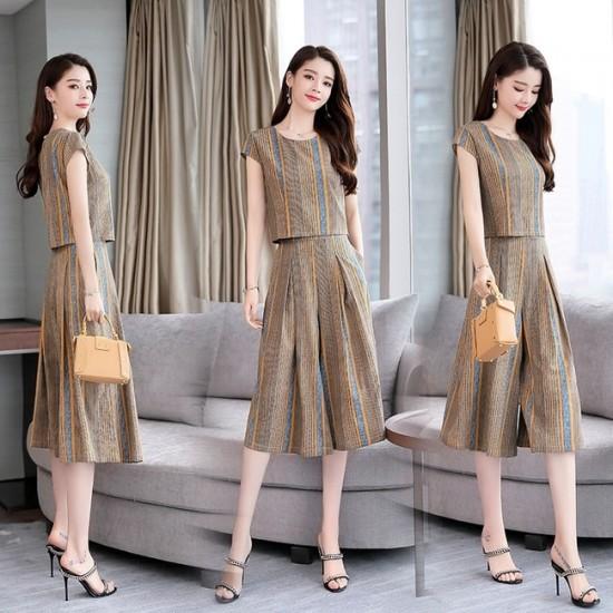 Stripe Print Elegant 2 Pcs Wide Leg Dress - Brown image