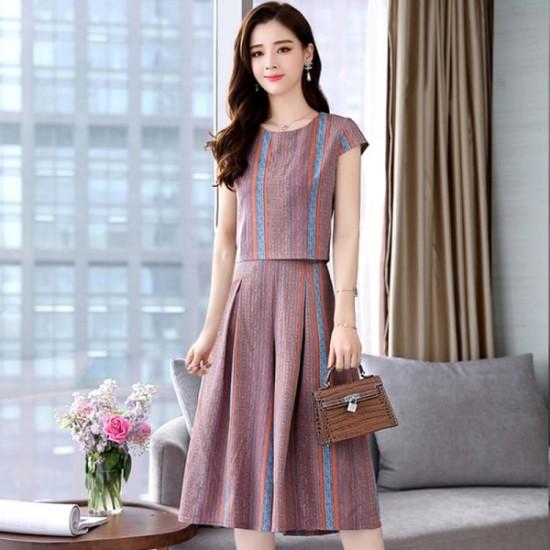 Stripe Print Elegant 2 Pcs Wide Leg Dress - Light Blue image