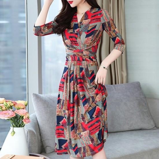 V-Neck Printed Flared Chiffon Midi Dress - Red image
