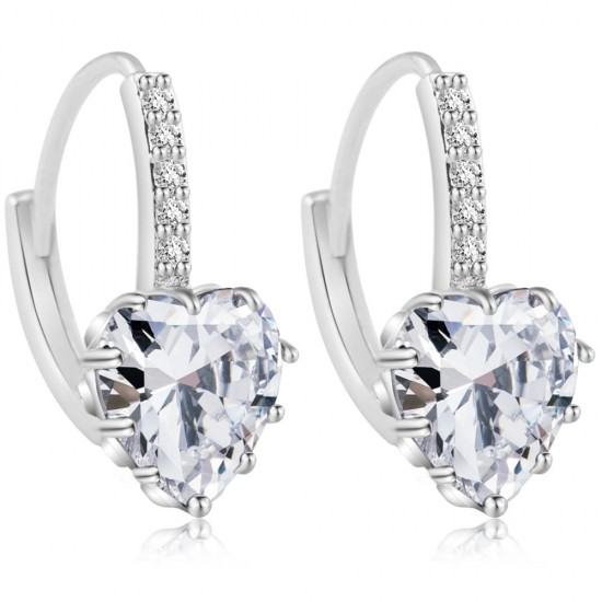 Heart Design White Zircon Crystal Dangle Earrings-White image