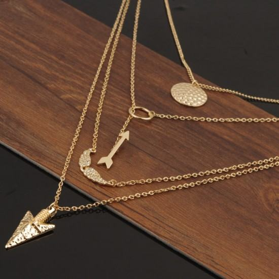 Women Fashion Multi Layered Necklace with Angle Wings-Golden image