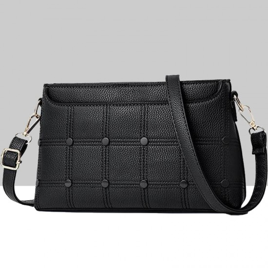 Rivets Decorated Small Square Shoulder Bag-Black image