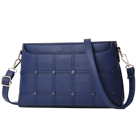 Rivets Decorated Small Square Shoulder Bag-Blue image