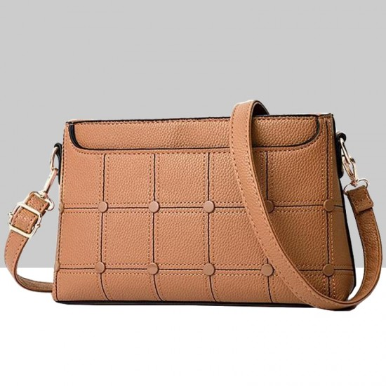 Rivets Decorated Small Square Shoulder Bag-Brown image