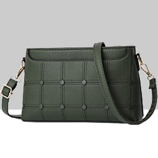 Rivets Decorated Small Square Shoulder Bag-Green image