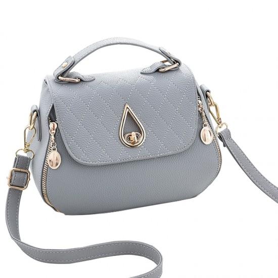 Side Zips Rainie Buckle Handbag-Grey image