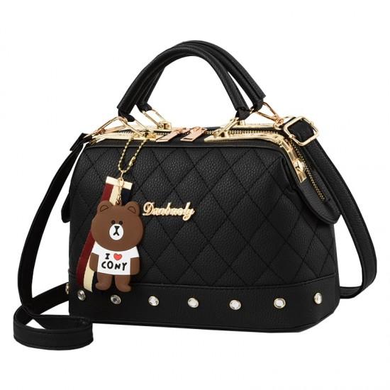 Quilted Premium women Crossbody Handbag-Black image