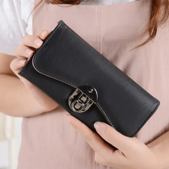 Classic Long Section Ladies Buckle Wallet Clutch-Black image