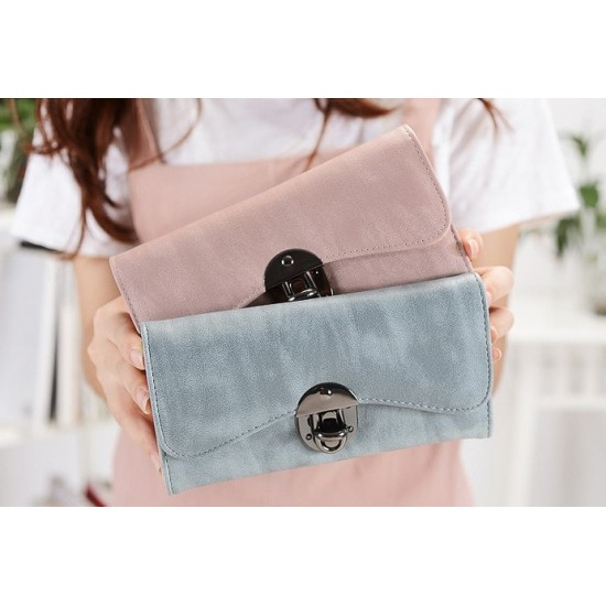 Classic Long Section Ladies Buckle Wallet Clutch-Blue image