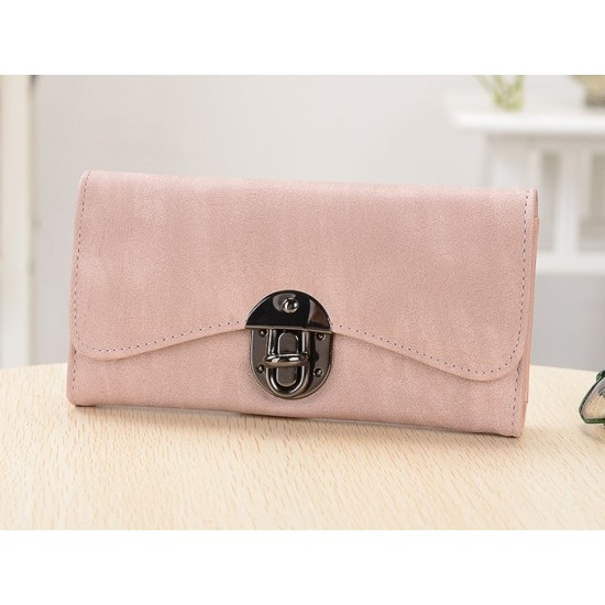 Classic Long Section Ladies Buckle Wallet Clutch-Pink image