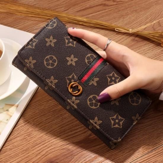 Mini Designers Texture Handy Women Wallet-Brown image