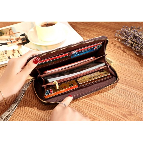 Designer Printed Contrast Women Clutch Wallet -Brown image