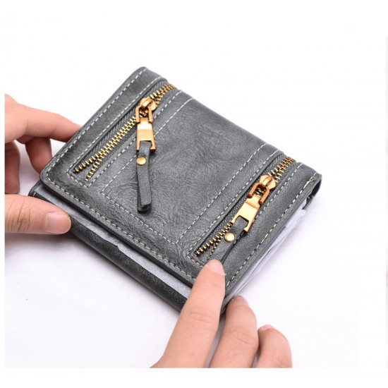 Double Zippers Multi Pockets Leather Wallet-Grey image