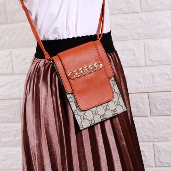 Designer Pattern Ladies Flap Mini Shoulder Bag-Brown image