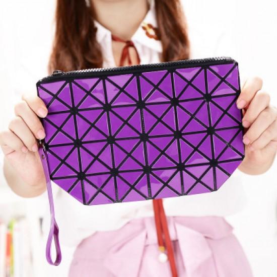 Vertical Chain Patchwork Ladies Shoulder Bag-Purple image