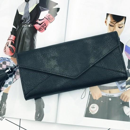 Tassel Envelope PU Textured Ladies Clutch Bags-Black image