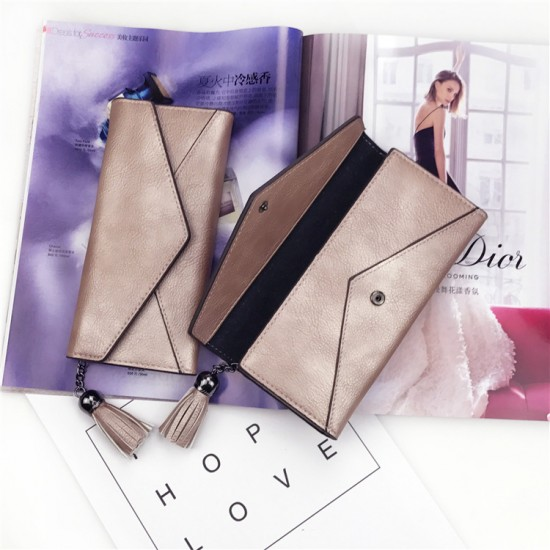 Tassel Envelope PU Textured Ladies Clutch Bags-Cream image