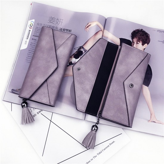 Tassel Envelope PU Textured Ladies Clutch Bags-Purple image