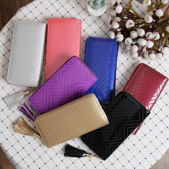 Zigzag Pattern Bright Leather Ladies Long Wallet -Black image