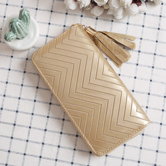 Zigzag Pattern Bright Leather Ladies Long Wallet -Gold image