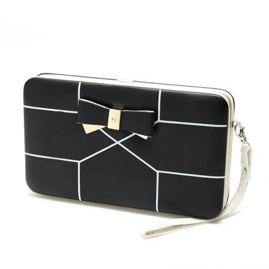 Bowknot Printed Ladies Long Box Wallet -Black image