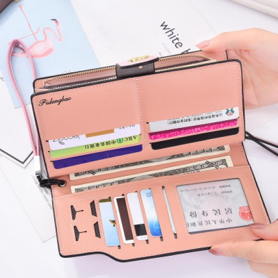 Designer Style Multi Pockets Zipper Closure Wallet -Grey image