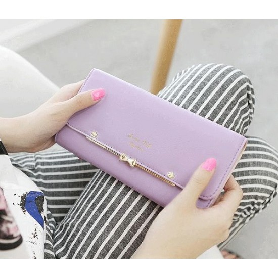 Simple Design Trifold Long Section Bow Wallet -Purple image